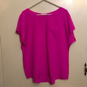 Lilly Pulitzer Pink Guava Silk Tee Blouse Size Med